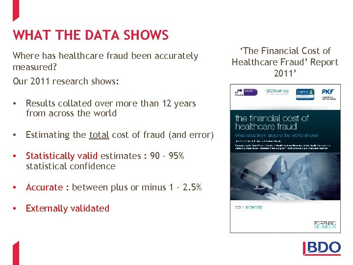 WHAT THE DATA SHOWS Where has healthcare fraud been accurately measured? Our 2011 research
