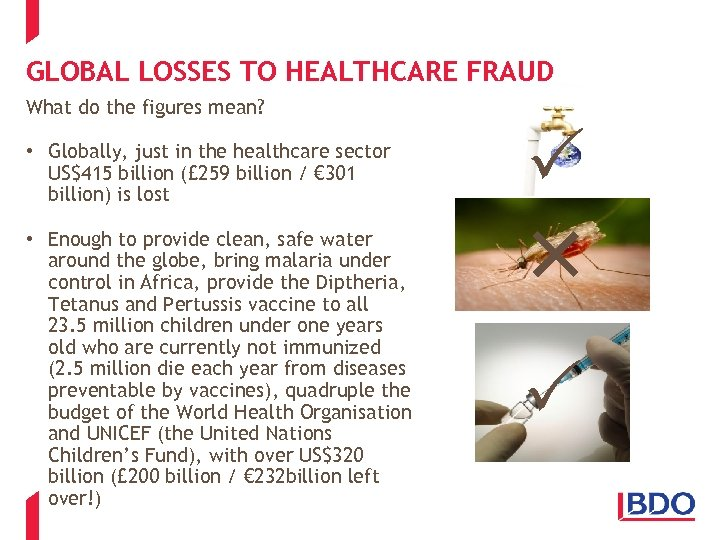 GLOBAL LOSSES TO HEALTHCARE FRAUD What do the figures mean? • Globally, just in