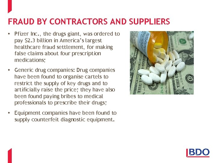 FRAUD BY CONTRACTORS AND SUPPLIERS • Pfizer Inc. , the drugs giant, was ordered