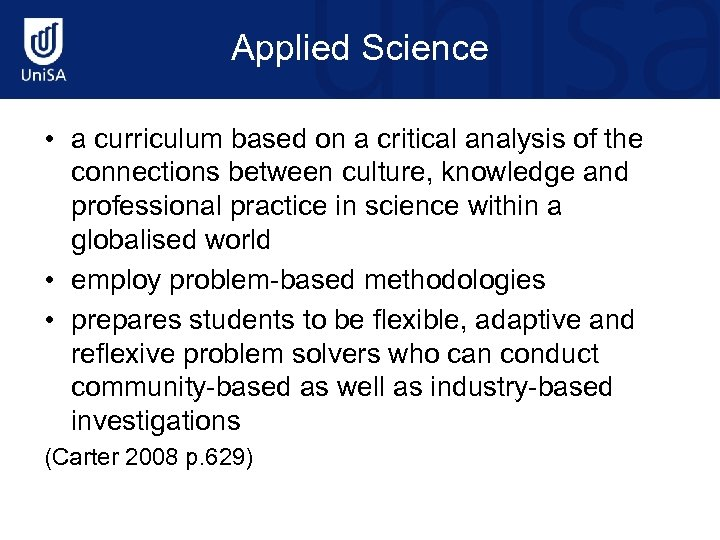 Applied Science • a curriculum based on a critical analysis of the connections between