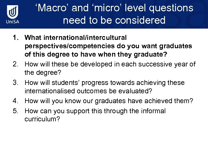 'Macro' and 'micro' level questions need to be considered 1. What international/intercultural perspectives/competencies do