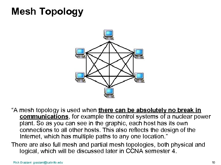 """Mesh Topology """"A mesh topology is used when there can be absolutely no break"""