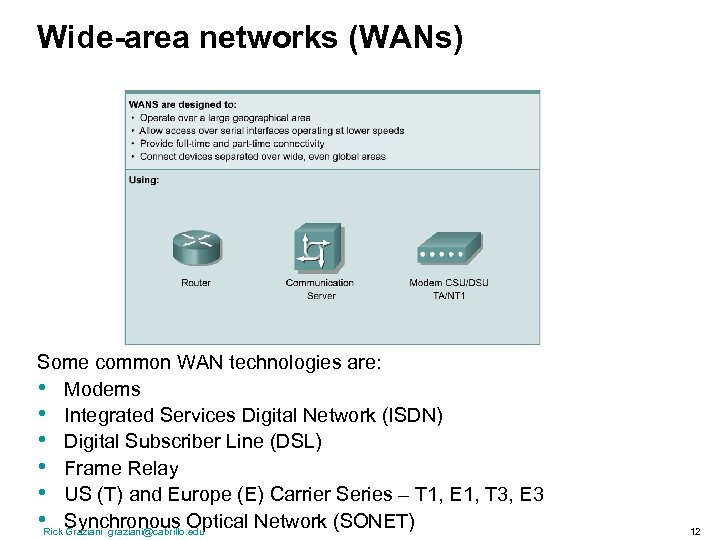 Wide-area networks (WANs) Some common WAN technologies are: • Modems • Integrated Services Digital