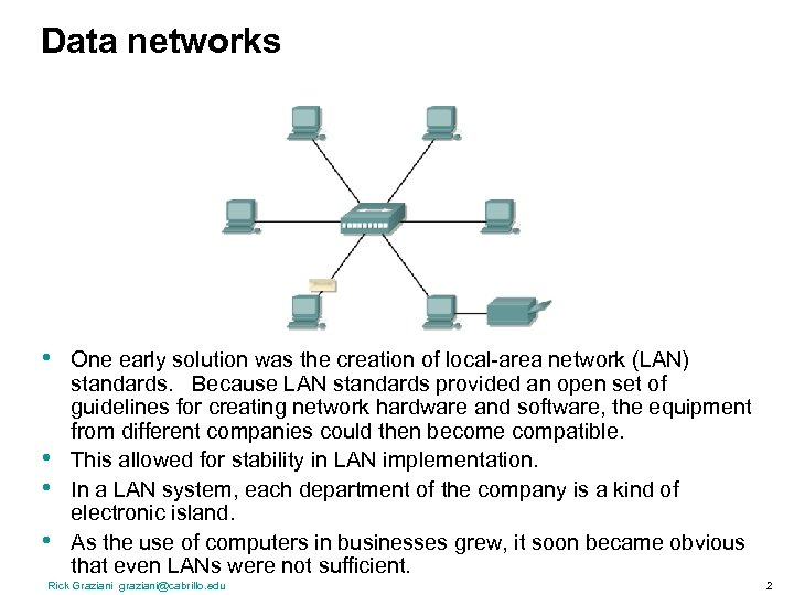 Data networks • • One early solution was the creation of local-area network (LAN)