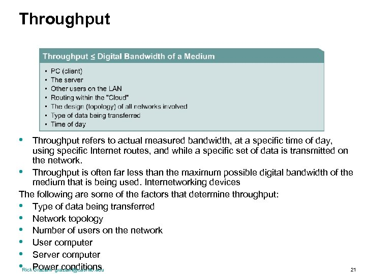 Throughput • Throughput refers to actual measured bandwidth, at a specific time of day,