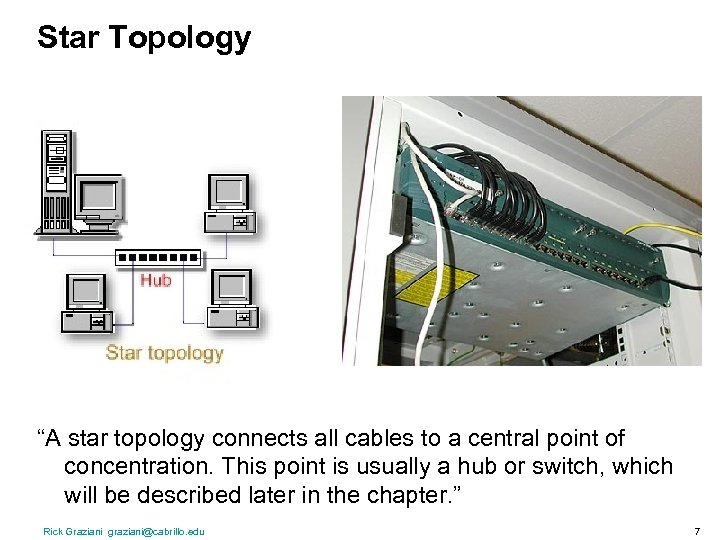 """Star Topology """"A star topology connects all cables to a central point of concentration."""