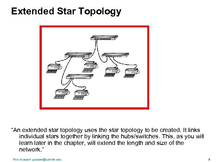 """Extended Star Topology """"An extended star topology uses the star topology to be created."""