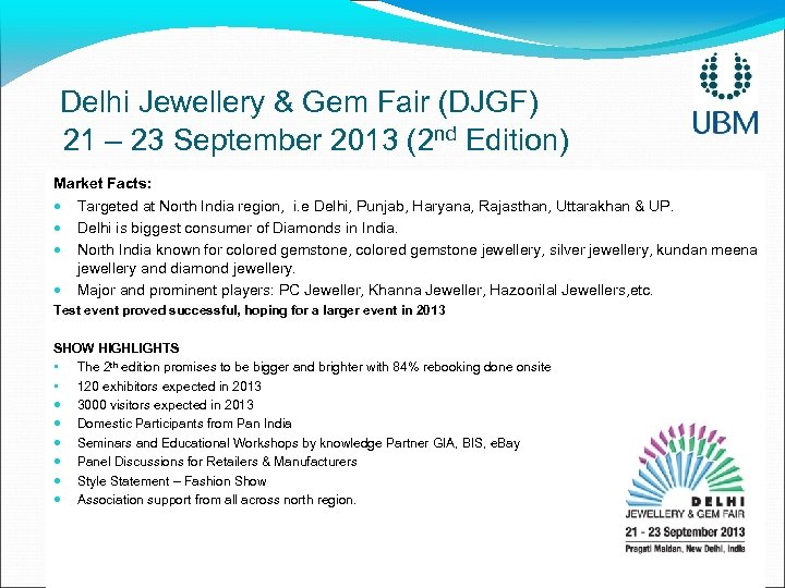 Delhi Jewellery & Gem Fair (DJGF) 21 – 23 September 2013 (2 nd