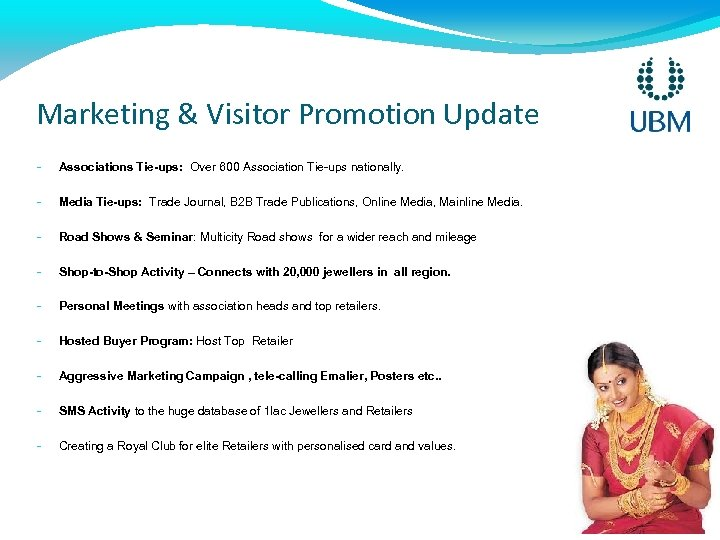Marketing & Visitor Promotion Update - Associations Tie-ups: Over 600 Association Tie-ups nationally. -