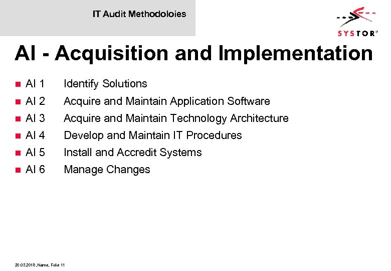 IT Audit Methodoloies AI - Acquisition and Implementation n AI 1 Identify Solutions n