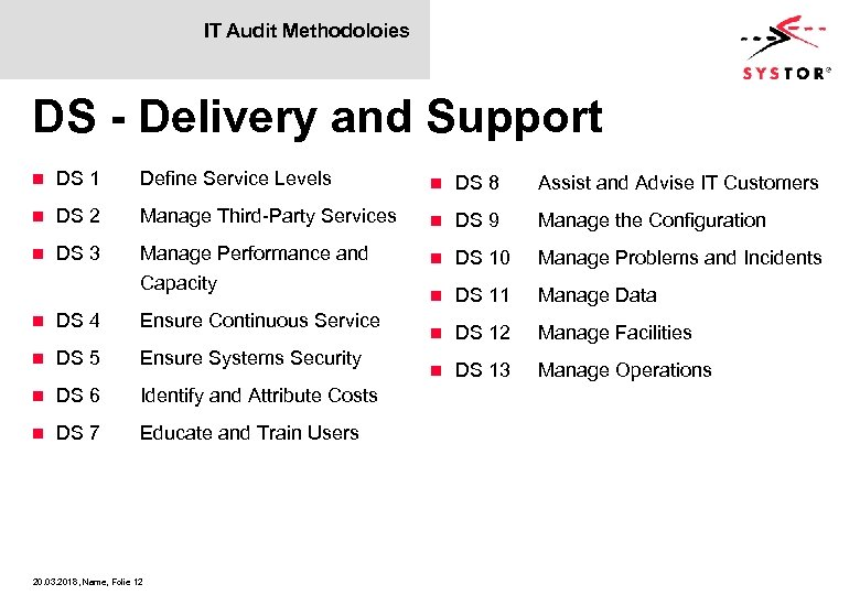 IT Audit Methodoloies DS - Delivery and Support n DS 1 Define Service Levels