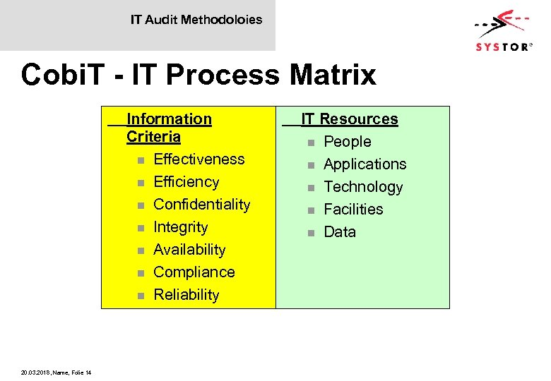 IT Audit Methodoloies Cobi. T - IT Process Matrix Information Criteria n Effectiveness n