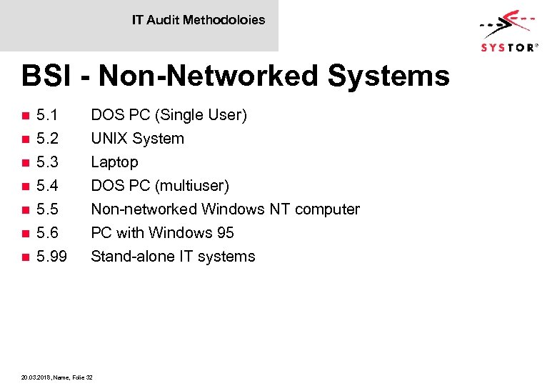 IT Audit Methodoloies BSI - Non-Networked Systems n n n n 5. 1 5.