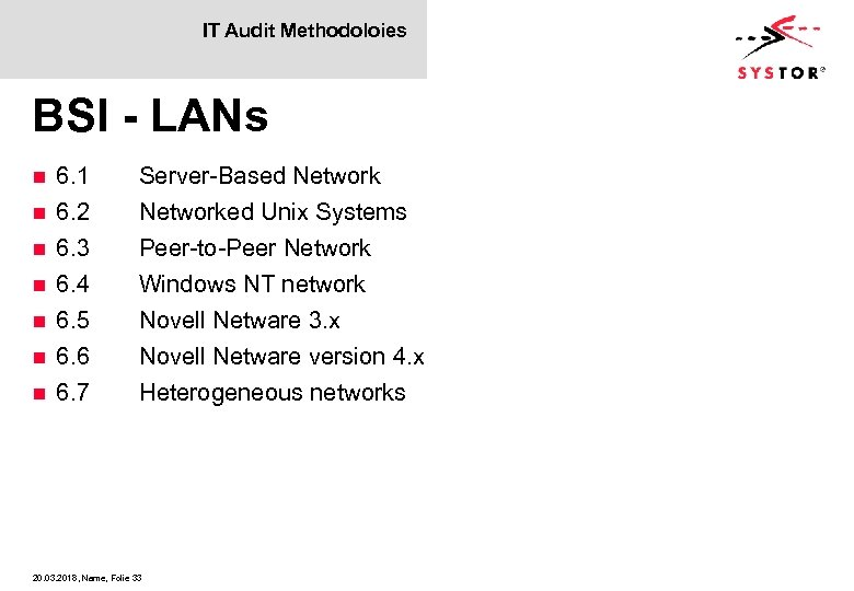 IT Audit Methodoloies BSI - LANs n n n n 6. 1 6. 2