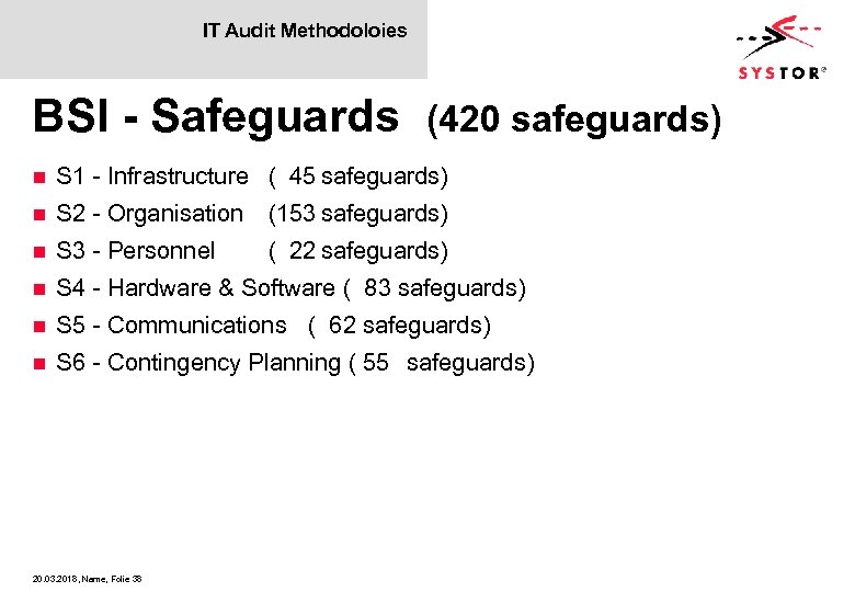 IT Audit Methodoloies BSI - Safeguards (420 safeguards) n S 1 - Infrastructure (