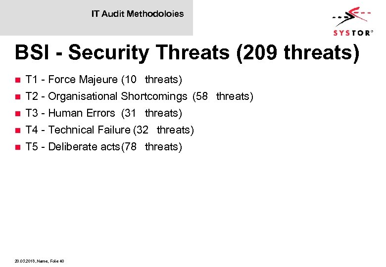 IT Audit Methodoloies BSI - Security Threats (209 threats) n T 1 - Force