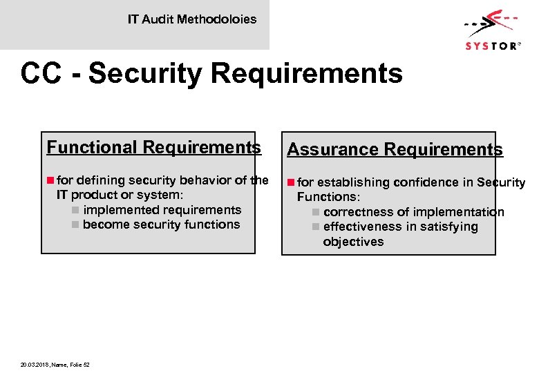 IT Audit Methodoloies CC - Security Requirements Functional Requirements Assurance Requirements n for defining