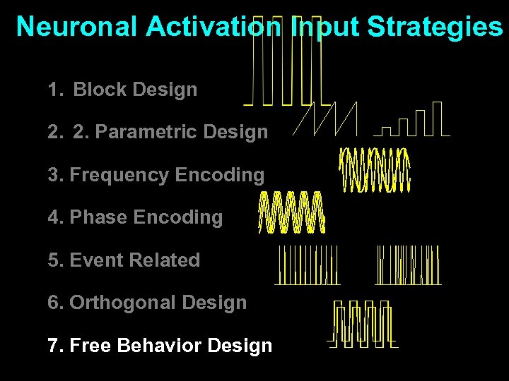 Neuronal Activation Input Strategies 1. Block Design 2. 2. Parametric Design 3. Frequency Encoding