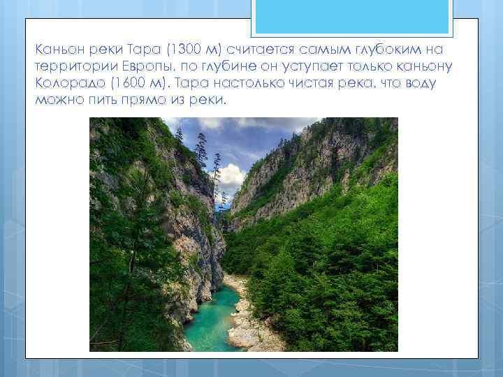 Каньон реки Тара (1300 м) считается самым глубоким на территории Европы, по глубине он