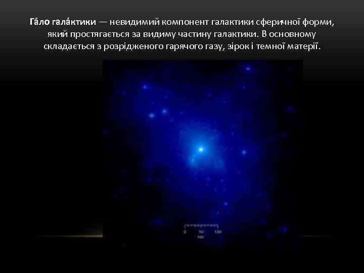 Га ло гала ктики — невидимий компонент галактики сферичної форми, який простягається за видиму