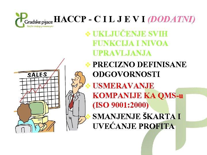 HACCP - C I L J E V I (DODATNI) v UKLJUČENJE SVIH FUNKCIJA