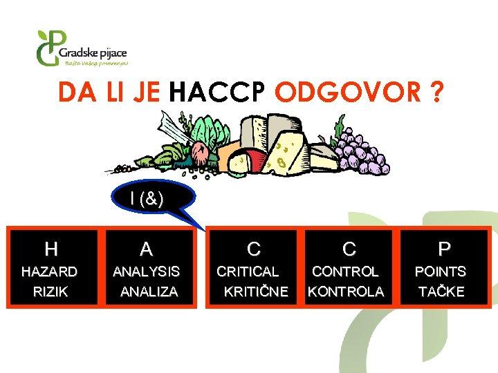 DA LI JE HACCP ODGOVOR ? I (&) H A C C P HAZARD