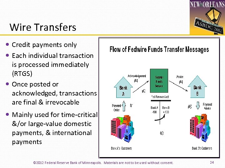 Wire Transfers Credit payments only Each individual transaction is processed immediately (RTGS) Once posted