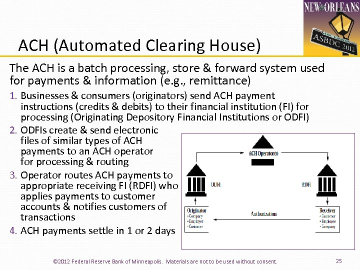 ACH (Automated Clearing House) The ACH is a batch processing, store & forward system