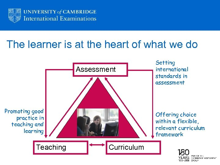 The learner is at the heart of what we do Assessment Promoting good practice