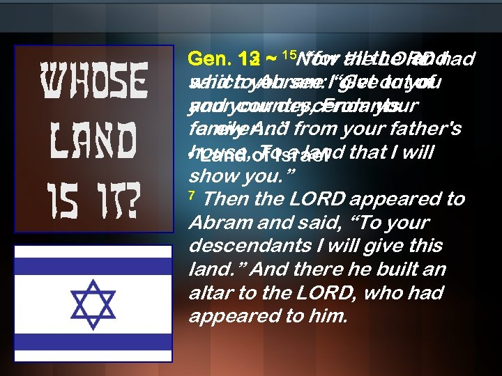 """Whose land is it? Gen. 13 ~ 15 Now thethe land 12 1 """"for"""