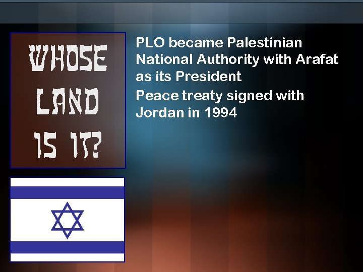 Whose land is it? PLO became Palestinian National Authority with Arafat as its President