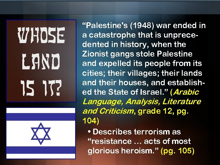 """Whose land is it? """"Palestine's (1948) war ended in a catastrophe that is unprecedented"""