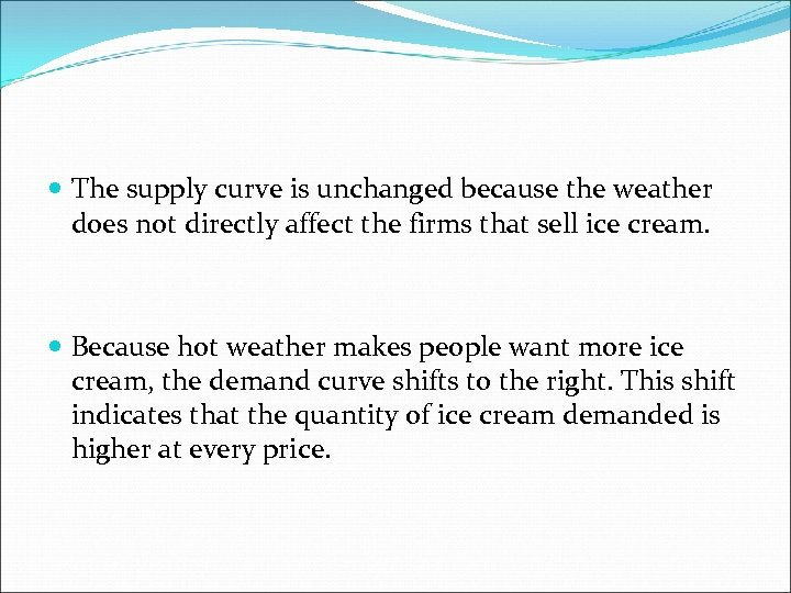 The supply curve is unchanged because the weather does not directly affect the