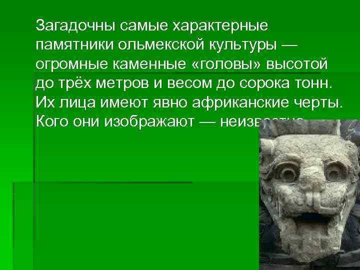 Загадочны самые характерные памятники ольмекской культуры — огромные каменные «головы» высотой до трёх