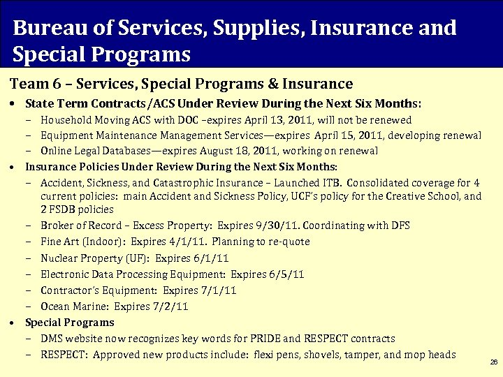 Bureau of Services, Supplies, Insurance and Special Programs Team 6 – Services, Special Programs