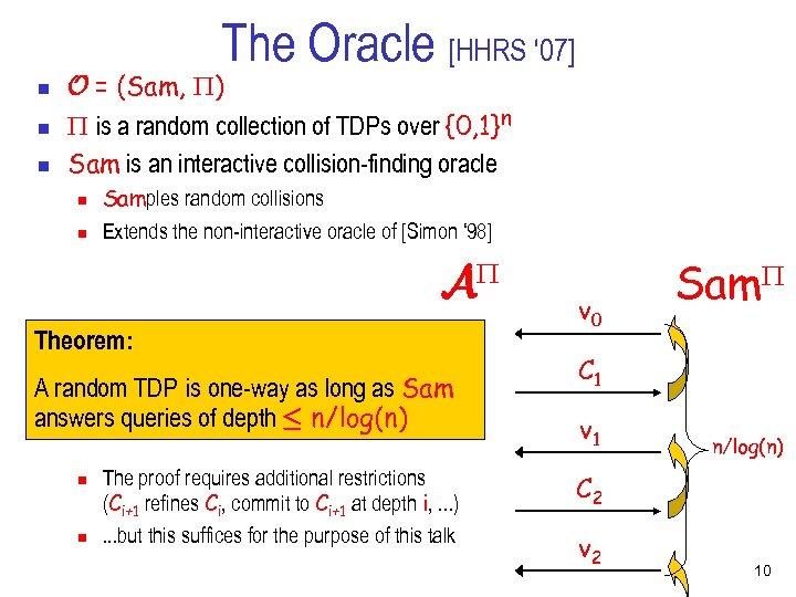 The Oracle [HHRS ' 07] n n n O = (Sam, ) is a