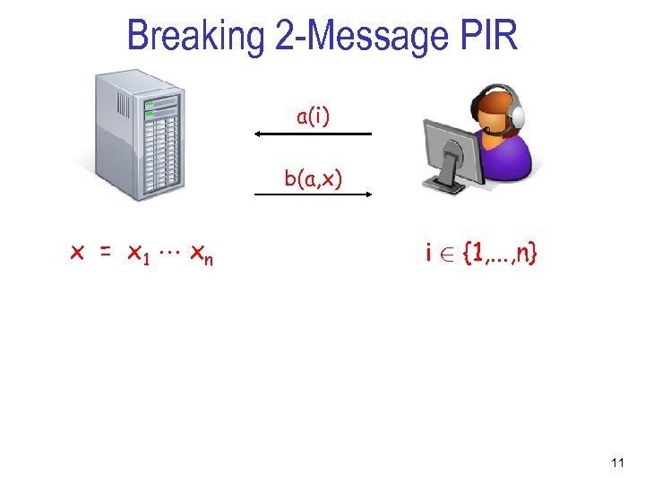 Breaking 2 -Message PIR a(i) b(a, x) x = x 1 xn i 2