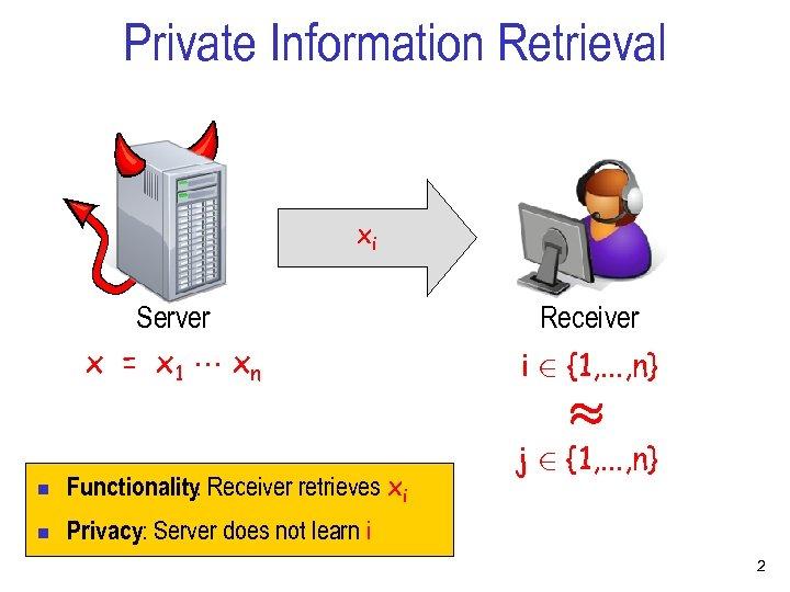 Private Information Retrieval xi Server x = x 1 xn Receiver i 2 {1,