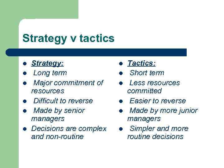 Strategy v tactics l l l Strategy: Long term Major commitment of resources Difficult