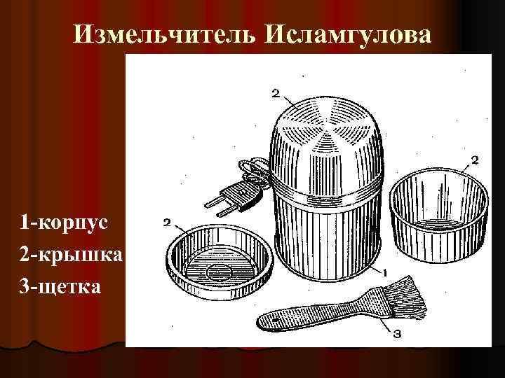 Измельчитель Исламгулова 1 -корпус 2 -крышка 3 -щетка