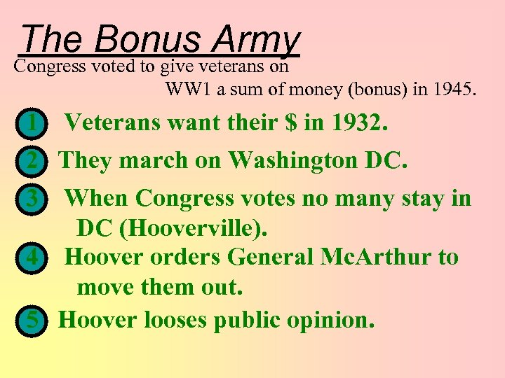 The Bonus Army Congress voted to give veterans on WW 1 a sum of