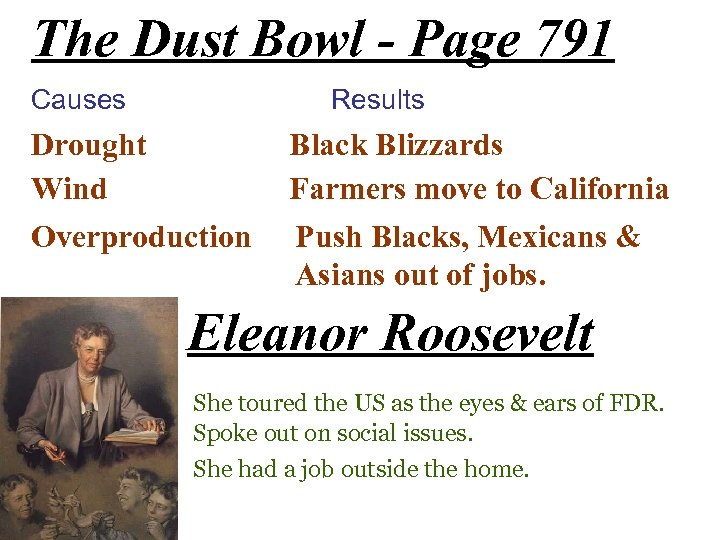The Dust Bowl - Page 791 Causes Results Drought Wind Overproduction Black Blizzards Farmers