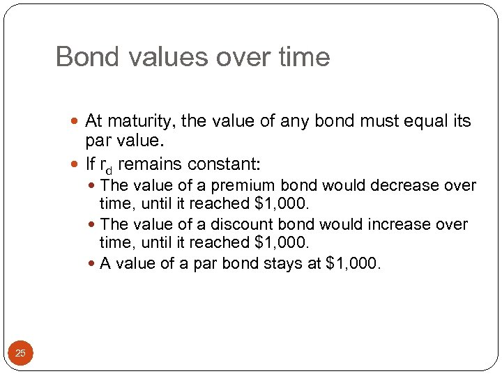 Bond values over time At maturity, the value of any bond must equal its