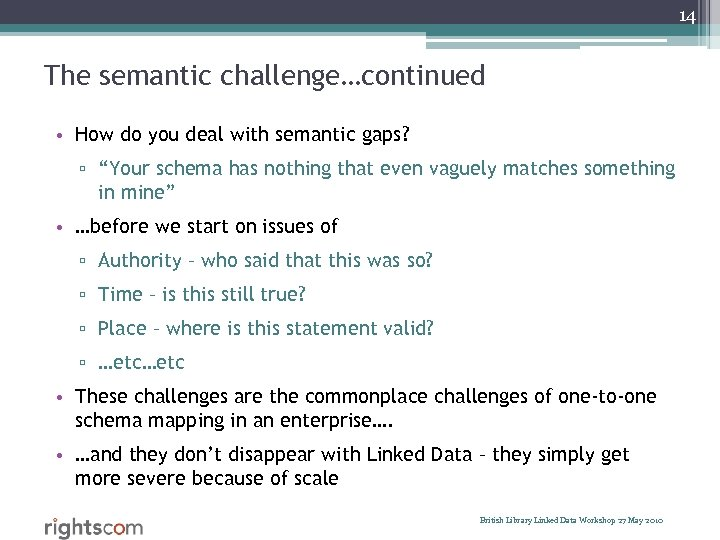 "14 The semantic challenge…continued • How do you deal with semantic gaps? ▫ ""Your"