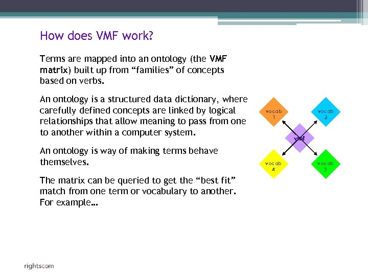 How does VMF work? Terms are mapped into an ontology (the VMF matrix) built