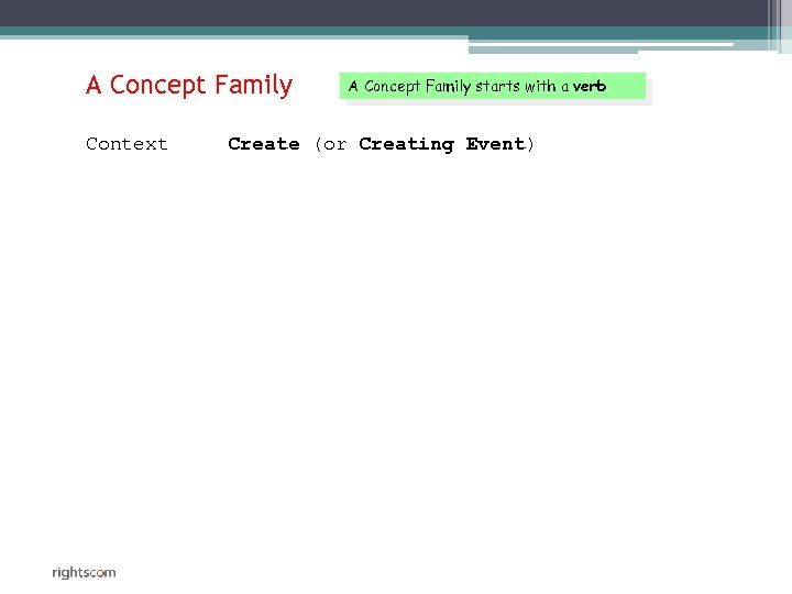 A Concept Family Context A Concept Family starts with a verb Create (or Creating