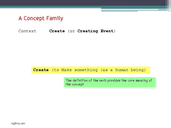 A Concept Family Context Create (or Creating Event) Create (to Make something (as a