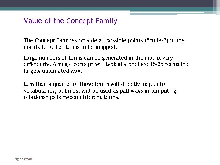 "Value of the Concept Family The Concept Families provide all possible points (""nodes"") in"