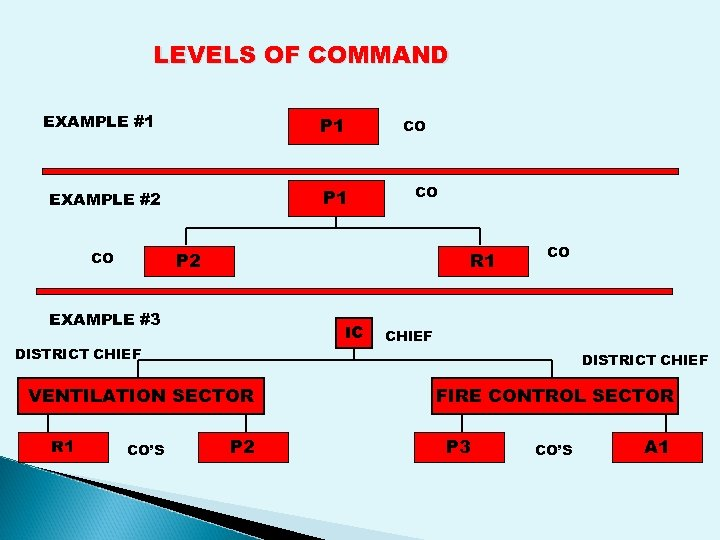 LEVELS OF COMMAND EXAMPLE #1 P 1 EXAMPLE #2 CO P 2 CO R