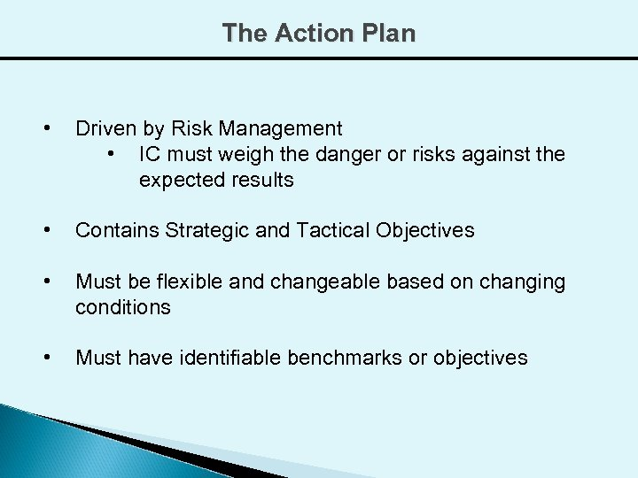 The Action Plan • Driven by Risk Management • IC must weigh the danger